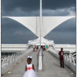 Girl in white dress at the Calatrava
