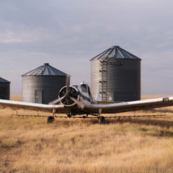 Crop duster in eastern Montana