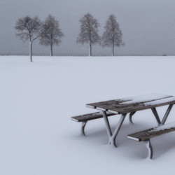 Picnic table in winter