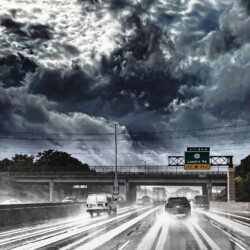 Sky over the highway in inclement weather