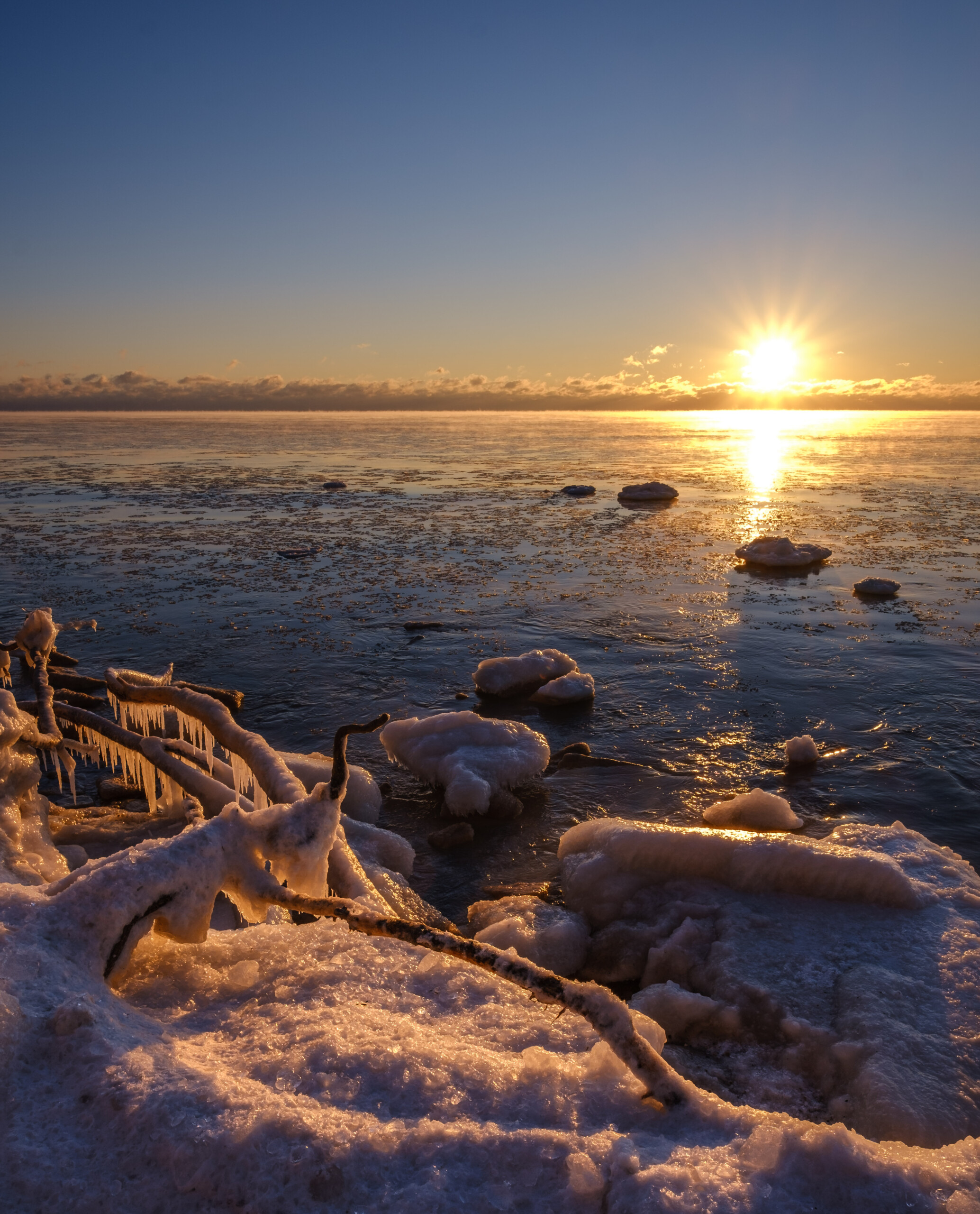 Cold morning at the shore
