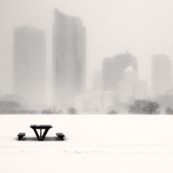 City scape with picnic table